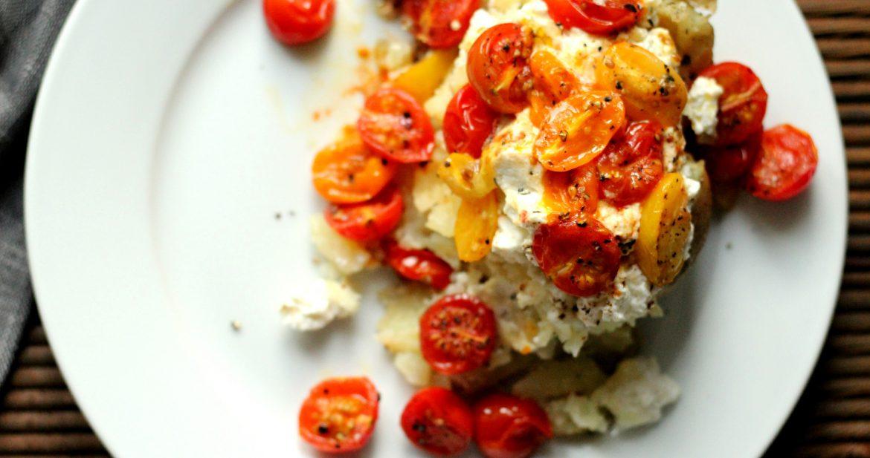 akt potet med ricotta og tomater