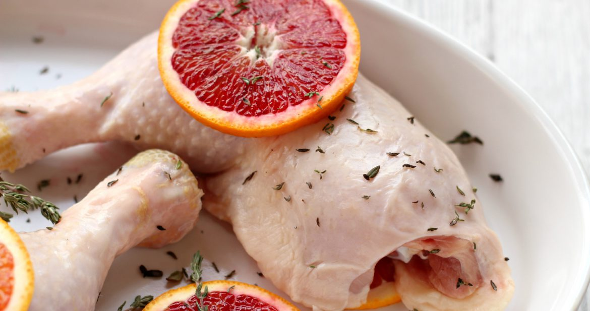 Chicken with blood oranges, and thyme.