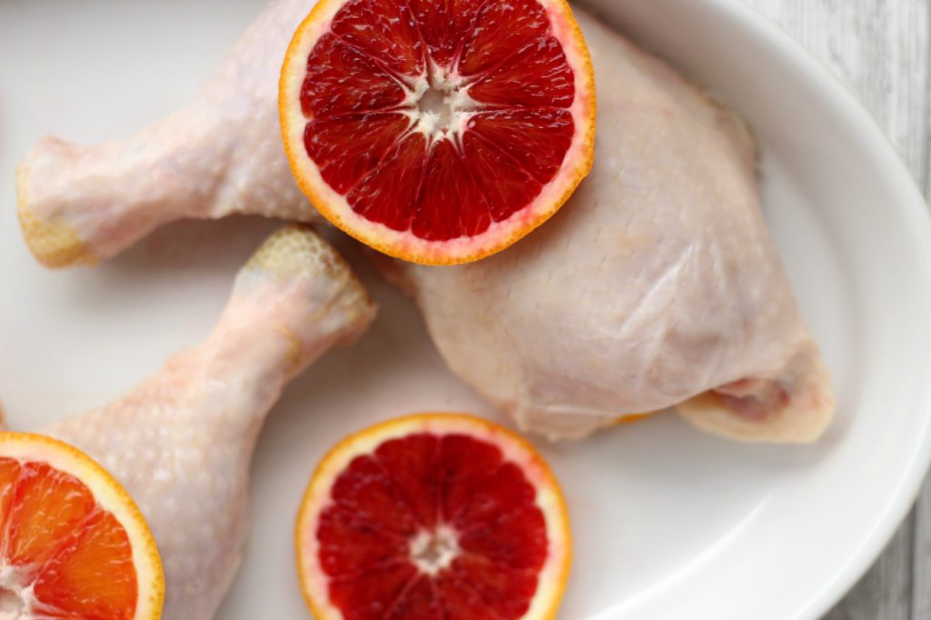 Chicken with delicious blood oranges.