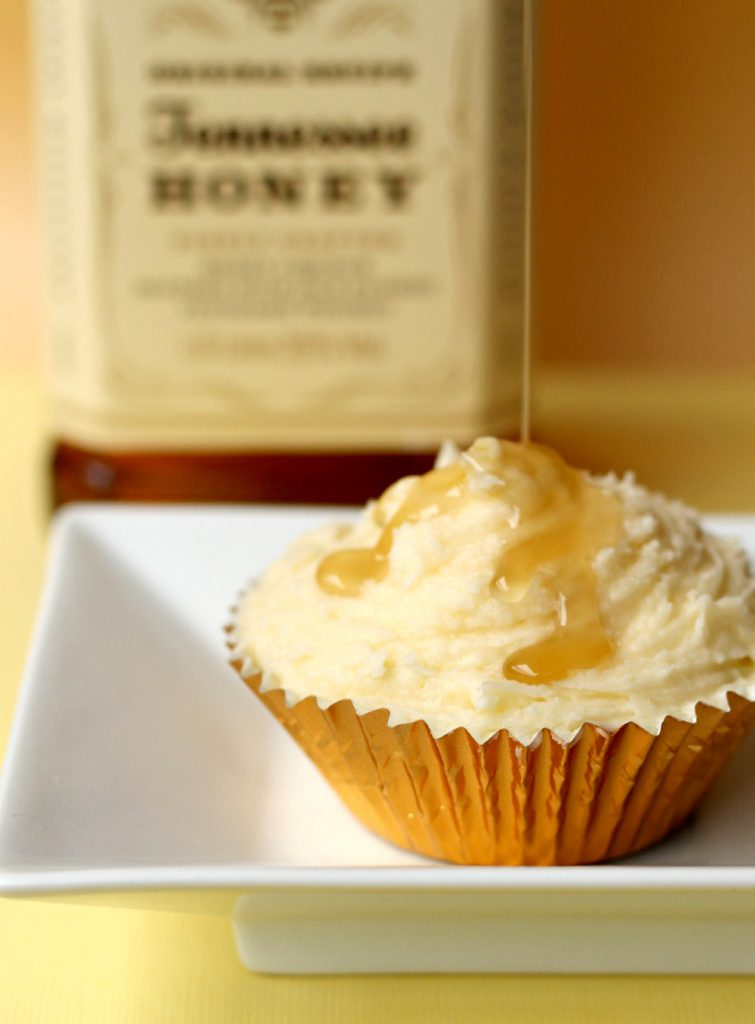 Boozy and delicious Jack Daniels Honey Cupcakes.