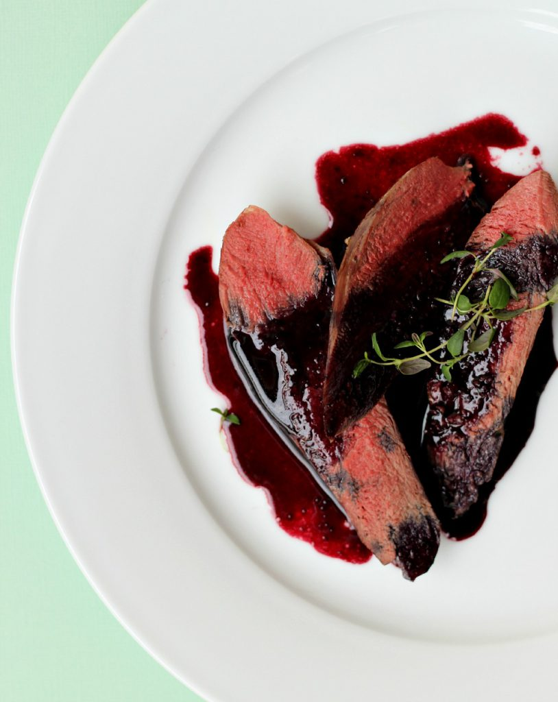 Reindeer filet with blueberry sauce and cauliflower mash.
