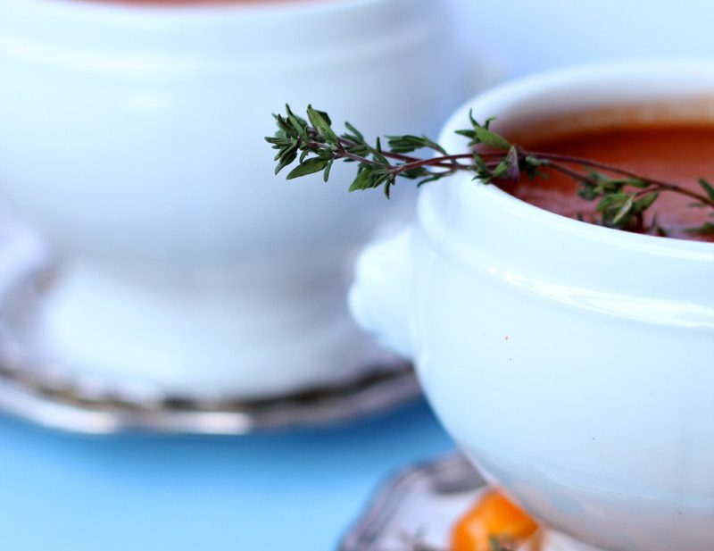 A simple tomato soup with herbs.