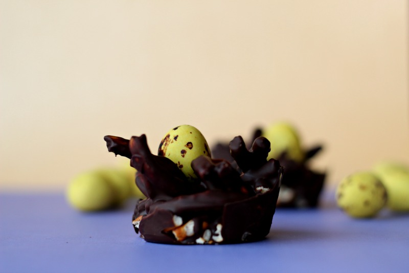 Chocolate Nest with Easter Eggs, a fun snack to eat during the holidays!