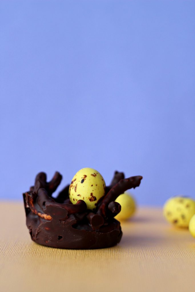 Chocolate Nest with Easter Eggs, a fun snack to celebrate easter!