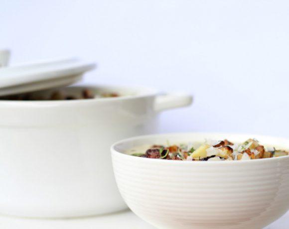 Blomkålsuppe med smørstekte poteter