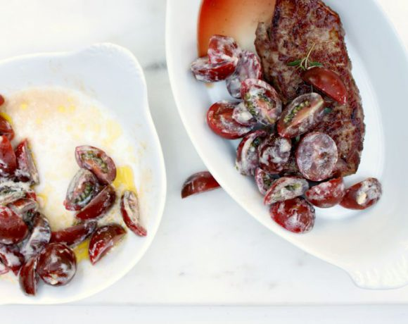 Biff med tomatsalat og chevrekrem