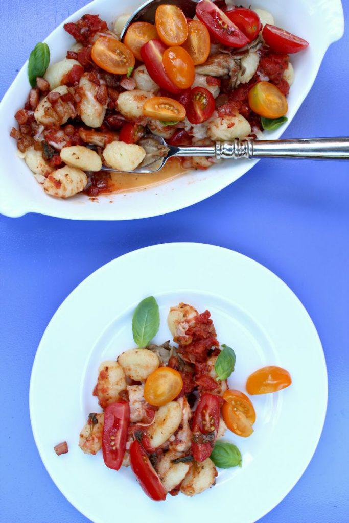 gnocchi-med-østerssopp-bacon-tomater