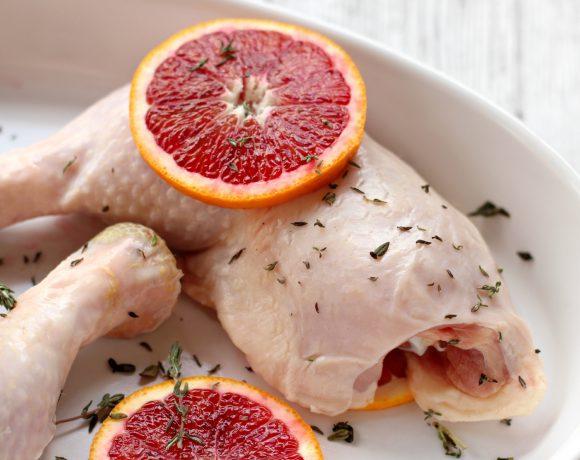 Ovnsbakt kylling med blodappelsiner og blomkålpuré