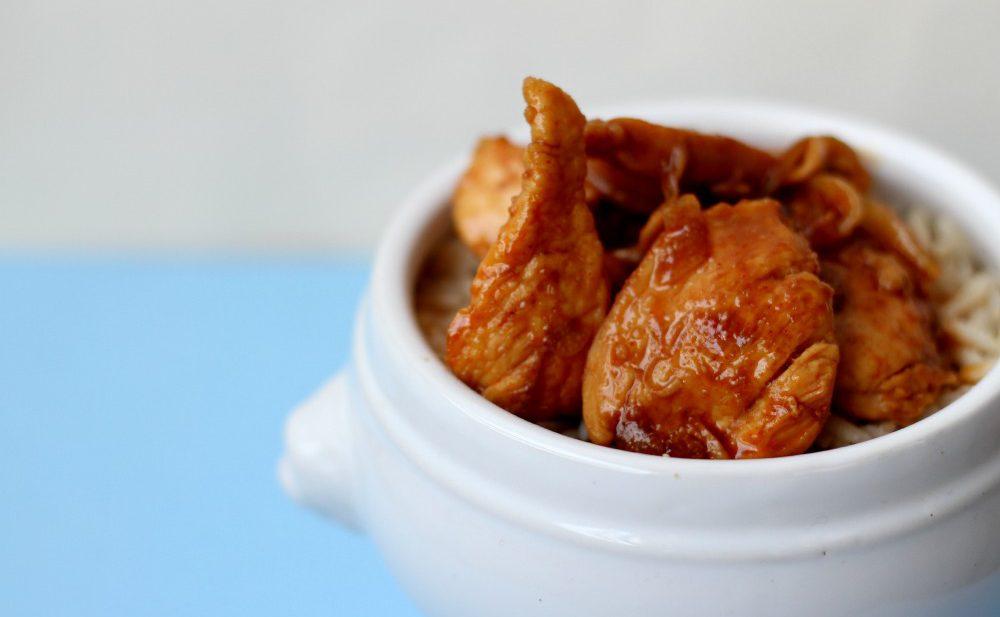 Kylling i saus av øl, honning og chili.