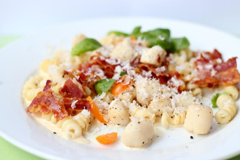 Scallop Bacon Pasta with a Creamy White Wine Sauce.